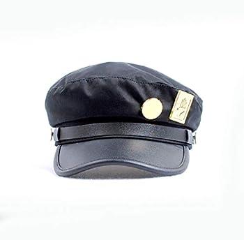 Cosplay Real Type JoJo s Bizarre Adventure Cosplay Metal Badge Jotaro Hat Adjustable Cap  Black