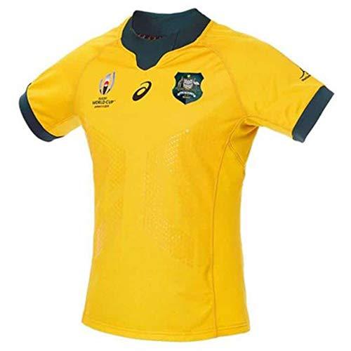 Rugby Trikots 2019 Japan WM Australien Home & Away Fußball Trikot Sportswear Training Jersey Polyester Schnelltrocknend Atmungsaktiv Geeignet für Studenten Kinder Erwachsene Gr. L, Gelb 1