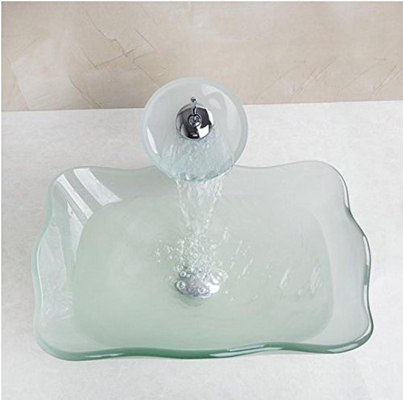 Gowe squaretemperot Glas-Gef Spüle mit Wasserhahn und Ablaufgarnitur Waschbecken Set