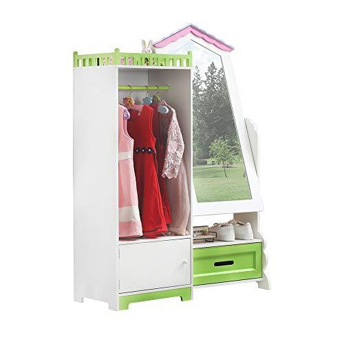 WODENY - Armadietto per bambini, con specchio, colore: Bianco e Verde