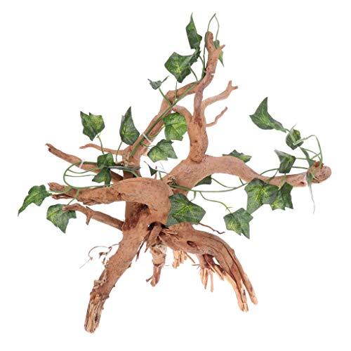 Tenlacum Reptilien-Habitat-Dekoration, Efeublätter, künstliche Pflanze auf Holzwurzel, Aquarium, Terrarium, Mikrolandschaft