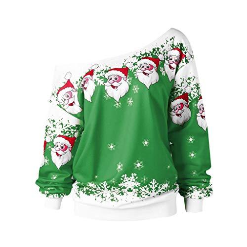 LILICAT Damen Weihnachten Sweatshirt Skew Neck Oberseiten Jumper Pullover Sweater Weihnachtsmann Print Oberteile Langarm Oversize Bluse...