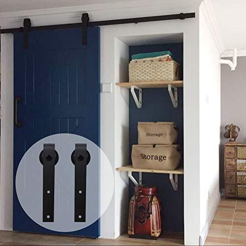Herraje Puerta Corredera 244cm/8ft Negro, CCJH Riel Puerta Corredera Armario, Adecuado para 1 Puerta de 122 cm de Ancho [J Shape Hanger]