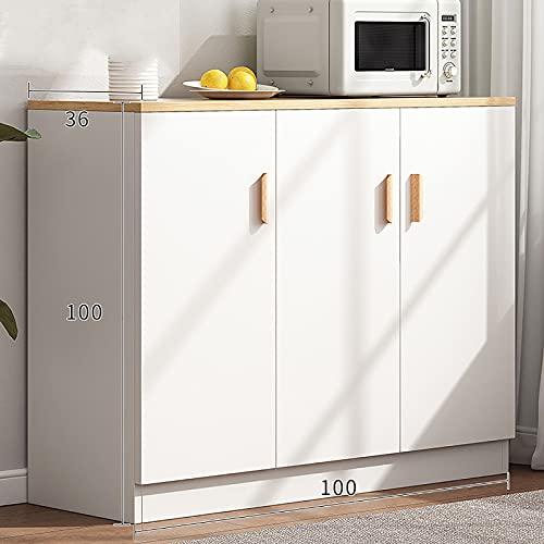 Aparador Blanco de Cocina, Armario, Armario, Mesa de Servidor de Almacenamiento Buffet con 3 Puertas y Encimera Ancha, 100 x 36 x 100 cm