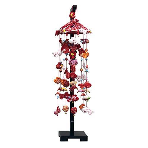 つるし雛 つるし飾り 雛人形 金魚の吊るし飾り 中サイズ (高さ90cm) 飾り台付き