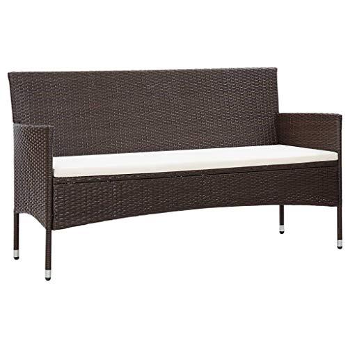 vidaXL Gartensofa 3-Sitzer mit Auflagen Loungesofa Rattansofa Couch Gartenmöbel Sofa Gartenbank Sitzbank Bank Lounge Braun Poly Rattan