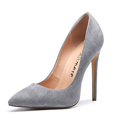 CASTAMERE Mujer Zapatos de Tacón Zapatos Mujer Tacon Fiesta Sexy Clásico Stilettos High Heels Fiesta Boda para Mujer Tacones Altos 12cm Ante Gris EU 39
