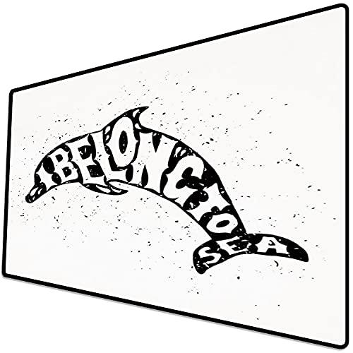 Alfombrilla de ratón (600x300x3 mm) Delfín, Criatura oceánica monocromática con Cita Genial I Belong to Sea Vintage Design Print Deco Superficie Suave y cómoda de la Alfombrilla de ratón para Juegos