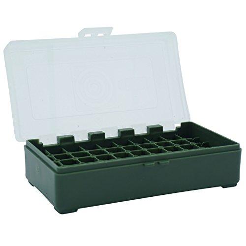 Waffenpflegewelt WPW Patronenbox aus robustem Kunstoff mit Klappdeckel für Kaliber 9 mm para, Kaliber 9 mm Luger, Kaliber 9 x 21, Kaliber .380 Auto – 50 Stück – grün