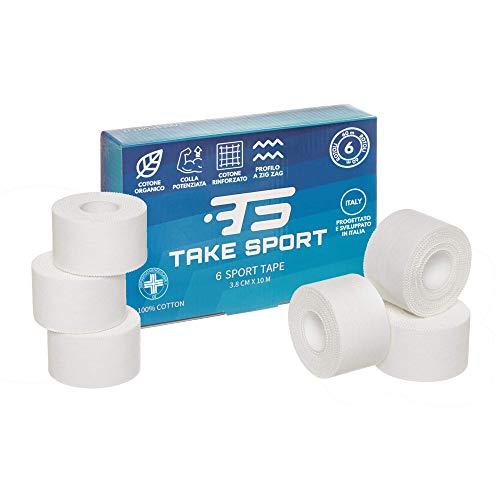 NOVITA' 2020. TAKE SPORT, Tape sportivo, Tape crossfit, Nastro Adesivo, Sport Tape. 6 rotoli 3,8 x 10m, 100% Cotone, Bordo Zig Zag, Non elastico. Bianco (6)