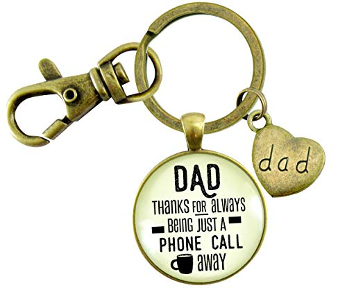 Gutsy Goodness Father Key Chain Dad Thanks Being Just A Phone Call Away Love From Daughter Gift