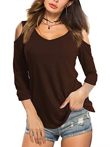 Beluring Damen Casual Solides Cold Shoulder T-Shirt V-Ausschnitt Tops Bluse, A-braun, DE: 42-44 / L