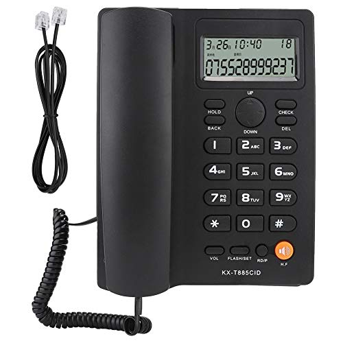 Telefono con Filo con Vivavoce, Telefono Fisso ID chiamante Telefono con Chiamata in Vivavoce Home Office Telefono Fisso Telefono Italiano(Nero)