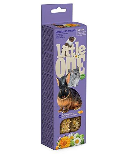 Little One Sticks voor cavia's, dwergkonijntjes en chinchillas met kruiden en bloemen in doos, 4-pack (4 x 110 g)