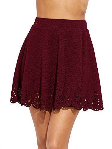 DIDK - Falda corta para mujer con encaje, talla alta, para verano, mini falda granate M