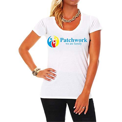 Frauen und Damen T-Shirt Patchwork we Are Family Größe XS - 5XL