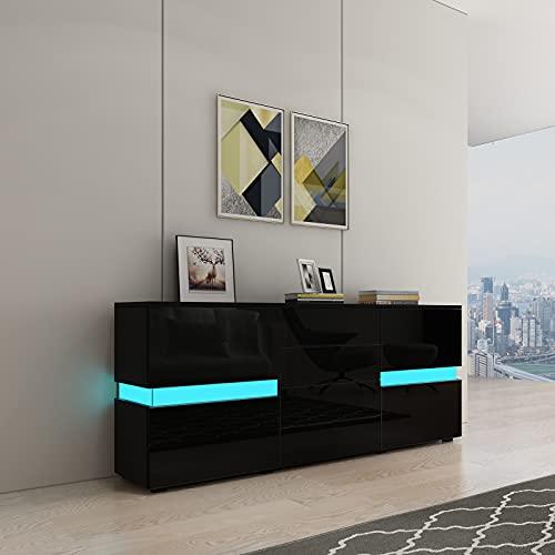Aparador de alto brillo para sala de estar, aparador moderno con luces LED, 2 puertas, 4 cajones, muebles para el hogar (negro)