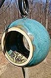 Handmade Modern Birdfeeder, Bird Feeder, Stoneware Ceramic Pottery in Turquoise Blue