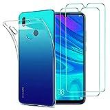 Huawei P Smart 2019 Hülle Panzerglas , [1 Handyhülle 2 Schutzfolie] Schutzhülle [Ultra Dünn] Folie Glas Panzerglasfolie TPU Silikon Hülle Cover Tasche Schale Transparent Crystal für Huawei P Smart 2019