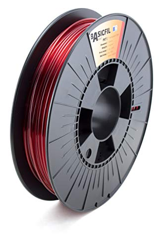 BASICFIL PET 2.85mm, 500 gr, 3D printing filament , Transparent Red
