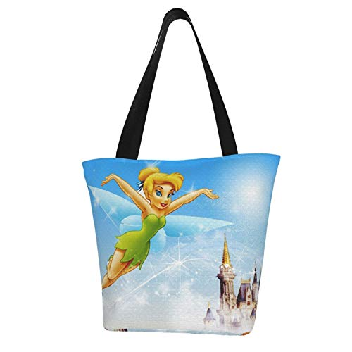 Tinker Bell Flight Women Tote Bag Canvas Handbags Casual Ladies Shoulder Bags for Shopping Purse