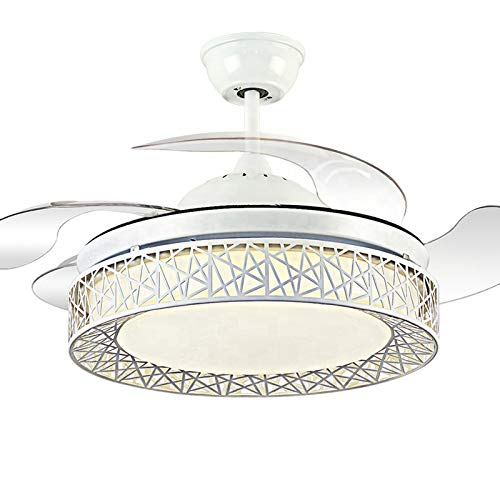 KANGLE-DERI Ventilador eléctrico LED Impermeable con Bluetooth, lámpara de Ventilador de Techo Semi empotrada, lámpara de Techo de Cristal Minimalista Moderna, Adecuada para Dormitorio,Ordinary