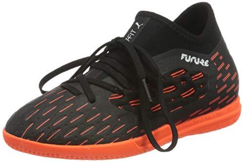 Puma Future 6.3 Netfit It Jr, Unisex-Kinder Fußballschuh, Schwarz-Puma Weiß-Schockierende Orange