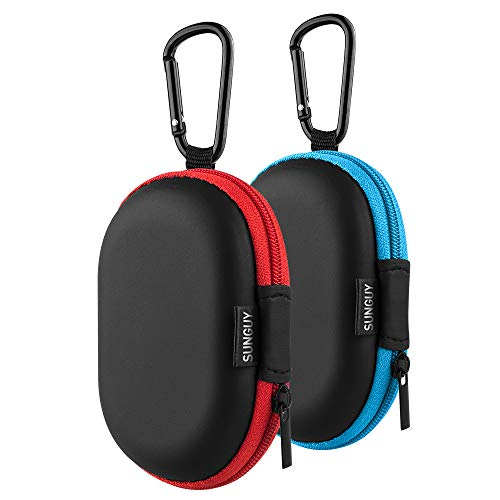 Earbuds Carrying Case, SUNGUY【2Pack, Red+Blue】 Small Oval Storage Cases, Portable Storage Earbud Pouch Bag for Earbuds, in-Ear Headphones, Earphones, Headsets, Hearing Aids, USB Charging Cable,