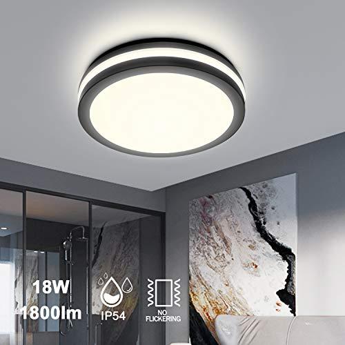 Lámpara LED de techo para salón, 18W, 1800lm, 4000K, luz blanca neutra, lámpara de techo, protección contra salpicaduras IP54, lámpara de baño para cuarto de baño, oficina, dormitorio, comedor, cocina
