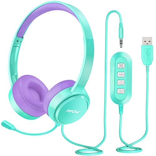 Mpow USB Headset (All-Platform Edition) with 3.5mm Jack, Stereo Computer Headset with Microphone Noise-Canceling, w/Comfort-fit Earpad, Inline Volume Control for PC/Laptop