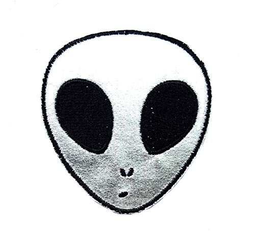 Silver Alien Head UFO Universe Cosmos Galaxy Cartoon Children Kid Patch Clothes Bag T-Shirt Jeans Biker Badge Applique Iron on/Sew On Patch