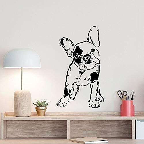 wopiaol Adesivi murali Camera Amorosa Adesivo murale a Tema Perry Bulldog Francese Regali per Cuccioli di Cane Segno Animali Gioca 57X97 cm