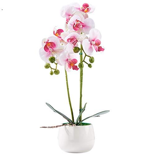 Alicemall Künstliche Blumen Orchidee Kunstpflanze aus Kunststoff Deko Kunstblume mit Übertopf Garten Balkon Wohnzimmer Hochzeit 33x8(Pink)