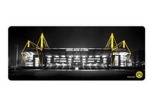 K&L Wall Art Borussia Dortmund Fußball Glasbild BVB Signal Iduna Park Wandbild aus Glas Fußballstadion 3D Optik schwarz gelb 100x40 cm GA1188