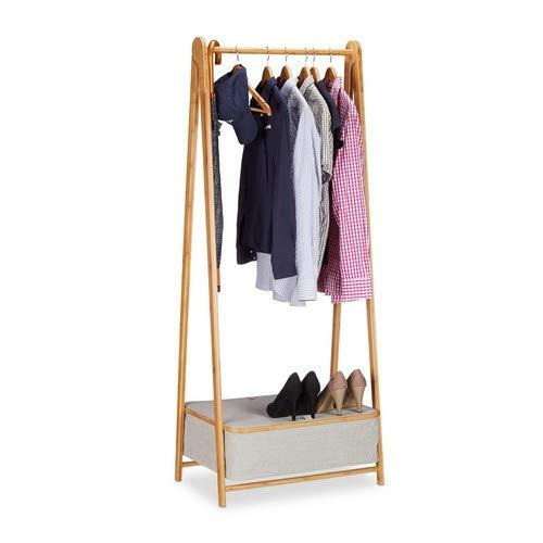 Relaxdays Garderobenständer 160 cm hoch, Bambus Kleiderständer und Box, freistehende Garderobe mit Stauraum, natur