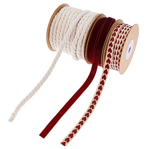 CheeseandU 3 Rolls Valentine's Day Ribbons Printed Heart Ribbons Red Velvet Ribbon White Cotton Hemp Ribbon Roll Craft…
