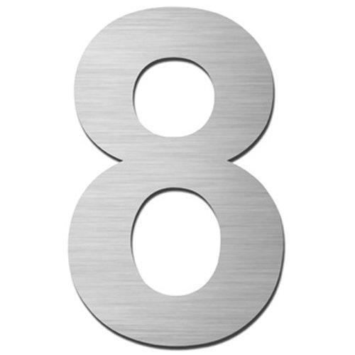 MOCAVI HS10 Hausnummer Edelstahl V4A selbstklebend Höhe 5,5-7,5 cm Edelstahl-Haustürnummer modern, Hausnummer:8