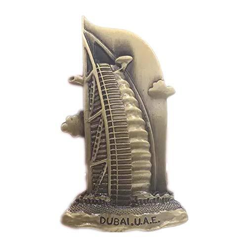 Burj Al Arab Dubai Imán para nevera World City 3D Metal fuerte recuerdo turístico regalo chino imán hecho a mano creativo hogar y cocina decoración magnética (Dubai 3)