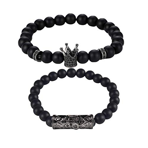 DIKOPRO Exquisite Bracelet Jewelry, Accessories, Stone Bracelets, Frosted Silver Pendant Bracelets Classic Lava Beaded Bracelets Fashion Men Natural Stone Bracelets(Black, Set of Two)