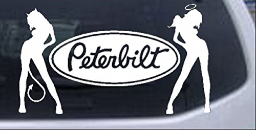 Rad Dezigns Peterbilt With SExy Mudflap Angel Devil Good and Bad Girls Moto Sports Car or Truck Window Laptop Decal Sticker - White 8in X 4.7in
