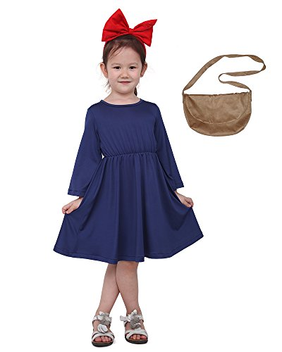 miccostumes Kids Delivery Service Witch Cosplay Dress with Brown Bag for Little Girl (Blue)