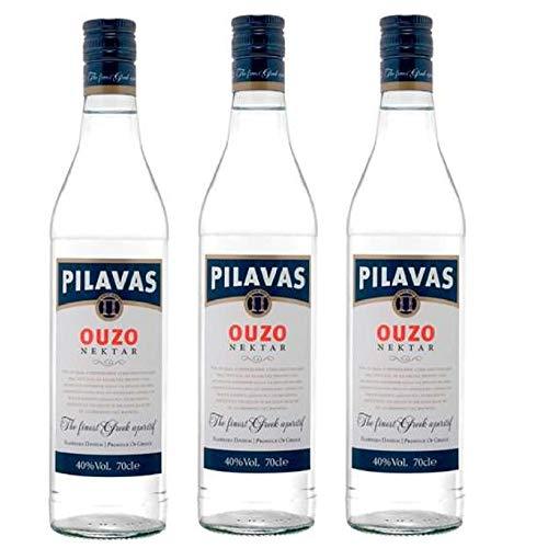 3x 0,7l Ouzo Pilavas Nektar 38% Vol. | + 1 x 20ml Olivenöl