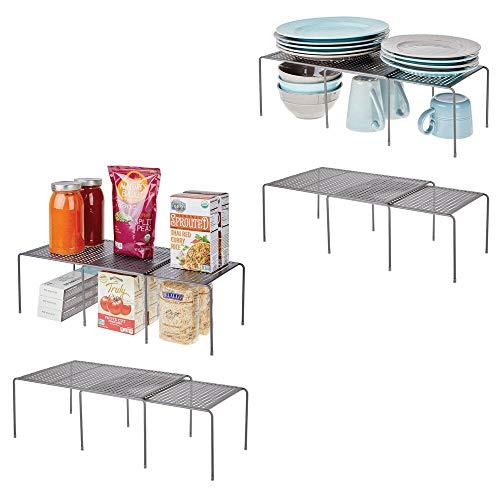 mDesign verstellbare Metallregale für Küche/Speisekammer, erweiterbar, 8 Stück Set of 8 graphit
