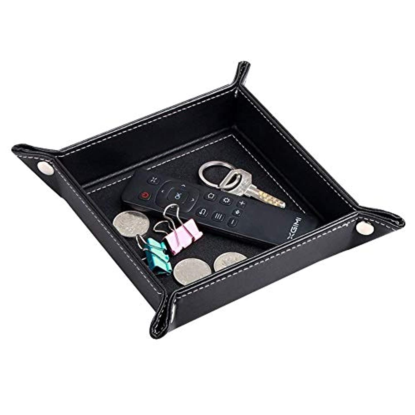 PUSU Desk Organizer Trays, Leatherette Collapsible Catchall Storage Valet Tray Office Pens Jewelry Makeup Keys Change Coins Dice Trinkets (Black)