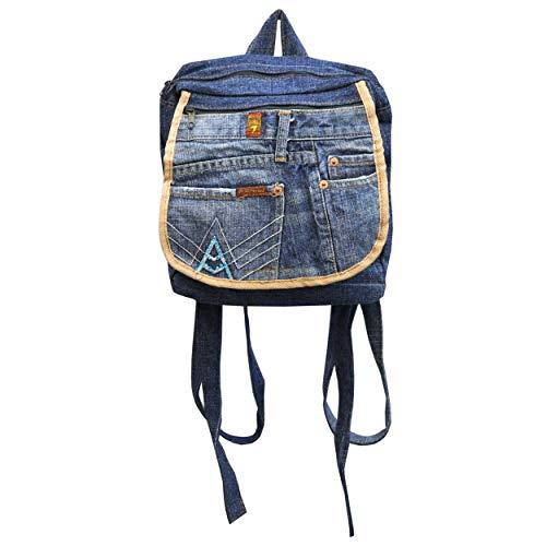 wifash Jeans Jeanstasche aus Jeanshosen genäht Umhängetasche Rucksack Schultertasche/Upcycling - aus Alt mach Neu (Rucksack 42089)