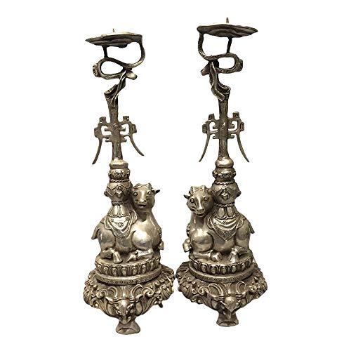 LAOJUNLU - Juego de 2 mesas de cera de cobre blanco con diseño de oveja de imitación de bronce antiguo, colección de joyas de estilo tradicional chino solitario