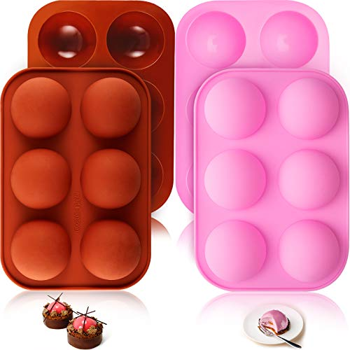 6 Holes Silicone Pastry and Baking Mold for Baking 3D Half Ball Sphere Mold Chocolate Cupcake Cake DIY Muffin Bakeware Kitchen Tools for Making Chocolate, Cake, Jelly, Candy (Pink, Brick Red,4 Pieces)