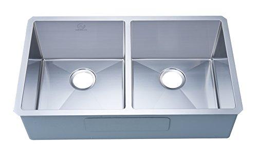 "Stufurhome NW-3320D Undermount Stainless Steel Double Bowl Kitchen Sink, 33"", Satin"