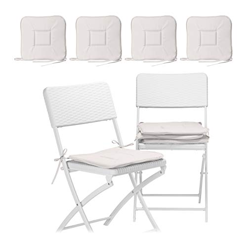 Relaxdays 8 x Stuhlkissen, Sitzkissen mit Schleife, Auflage für Stühle, Haus und Garten, waschbar, Stuhlauflage Polyester, Taupe