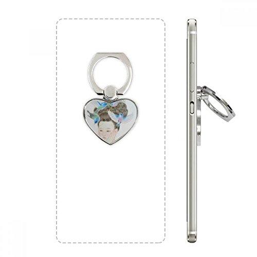 DIYthinker Pretty Girl Blue Bird Peinture Chinoise Ring de téléphone Portable Coeur Support à Support Universel Support Cadeau
